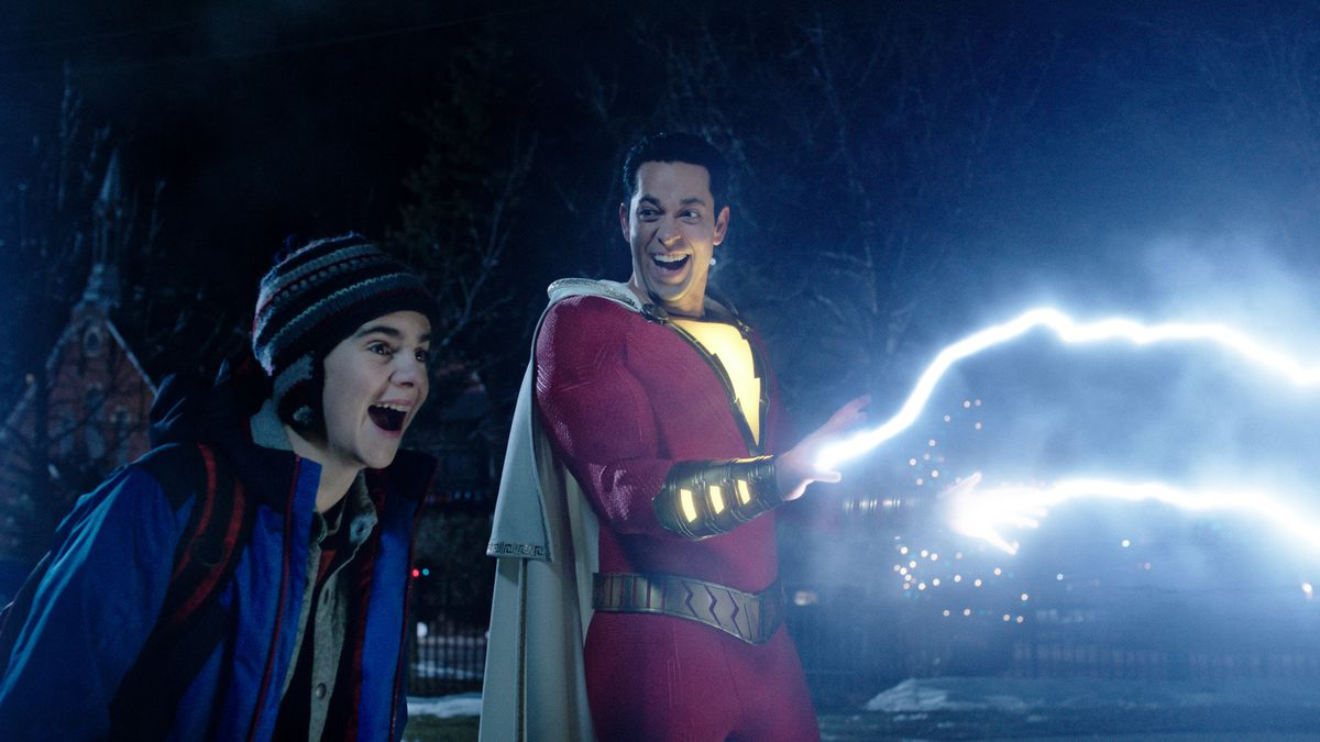 """In """"Shazam!,"""" the title superhero demonstrates his powers to young comic-book fan Freddy Freeman (Jack Dylan Grazer).   Warner Bros."""