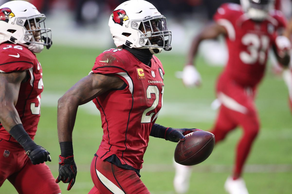 Cornerback Patrick Peterson #21 of the Arizona Cardinals reacts after making an interception during the second half against the Buffalo Bills at State Farm Stadium on November 15, 2020 in Glendale, Arizona.
