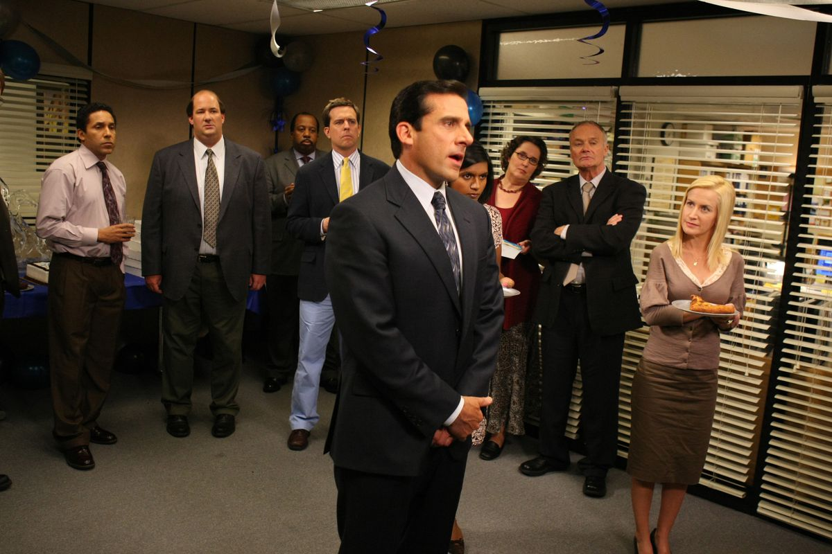 """FILE - This undated image provided by NBC Universal shows a scene from NBC's """"The Office,"""" showing Steve Carell, front, as Michael Scott. The program was nominated, Tuesday, Dec. 15, 2009, for a Golden Globe for best television series musical or comedy. The awards will be held on Jan. 17, in Beverly Hills, Calif. (AP Photo/NBC, Justin Lubin)"""