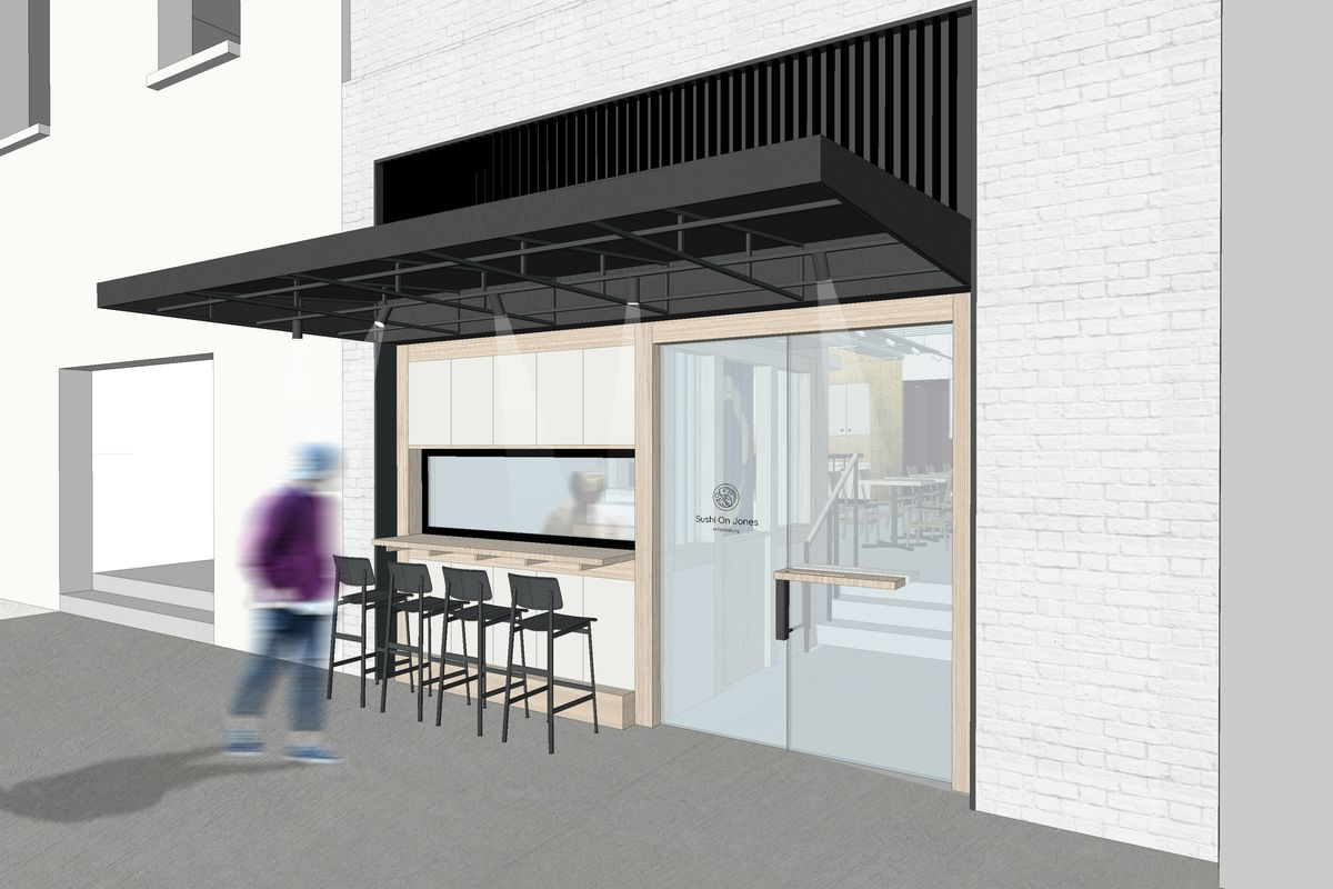 A rendering of a restaurant front with four seats on the sidewalk and a man walking by