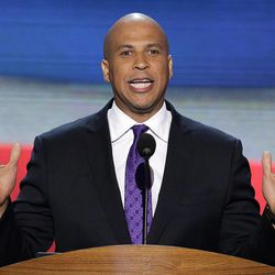 Newark Mayor Cory Booker addresses the Democratic National Convention in Charlotte, N.C., on Tuesday, Sept. 4, 2012.