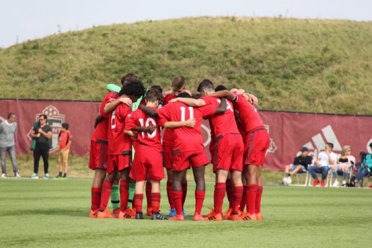 Toronto FC Academy prematch huddle