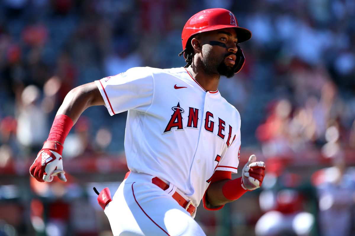 Jo Adell #7 of the Los Angeles Angels hits a two run home run during the sixth inning against the Texas Rangers at Angel Stadium of Anaheim on September 05, 2021 in Anaheim, California.