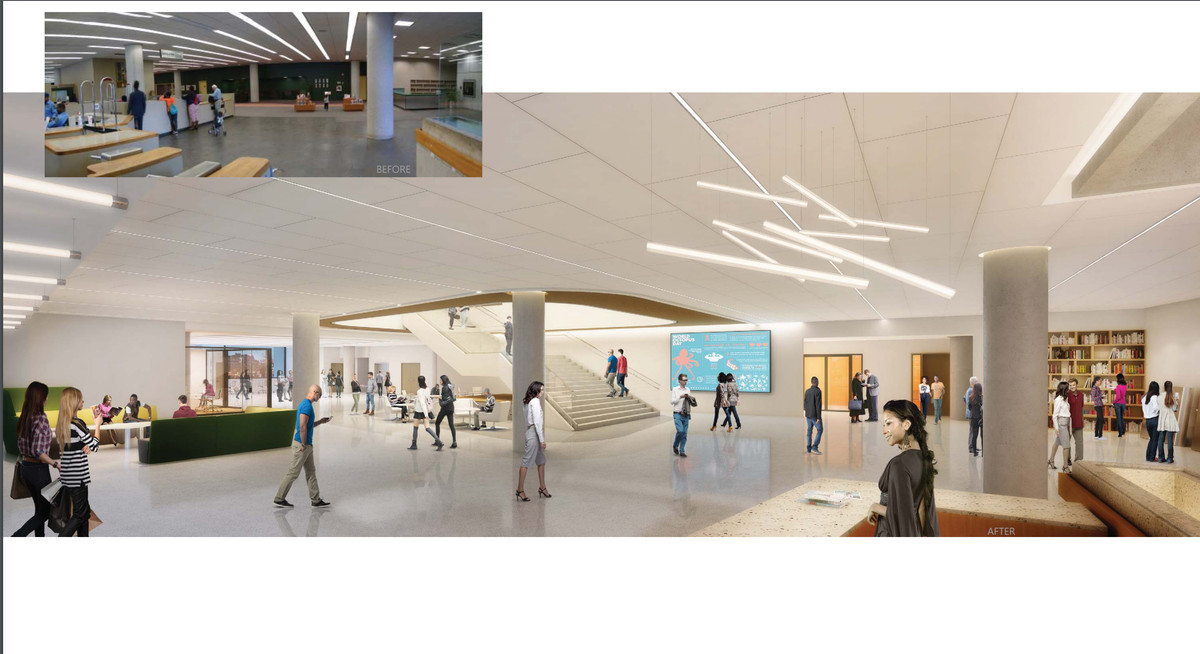 A rendering of the redesigned ground floor of the library shows better, more artisitic lighting and a bright white coat of paint.