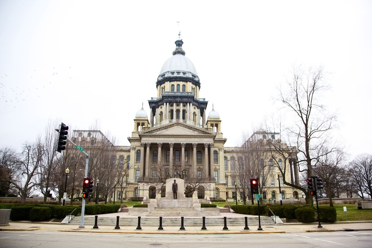 Illinois State House Capitol on a cloudy winter day - Springfield