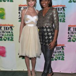 In <b>Helmut Lang</b> jeans and a <b>Wes Gordon</b> jacket at the Nickelodeon's 25th Annual Kids' Choice Awards with Taylor Swift on March 31, 2012