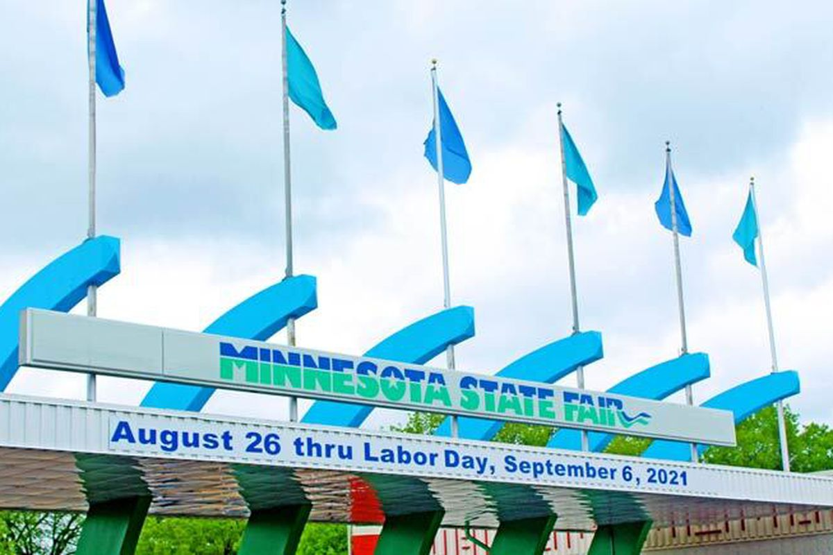 The entrance to the Minnesota State Fair advertising the 2021 dates as August 26 - Labor Day