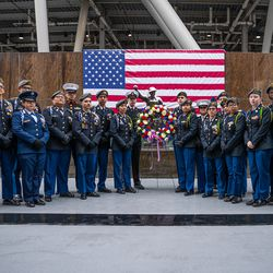 JROTC Chicago Public Schools Cadets at the Veteran's Day ceremony at Soldier Field on Monday, Nov. 11, 2019.