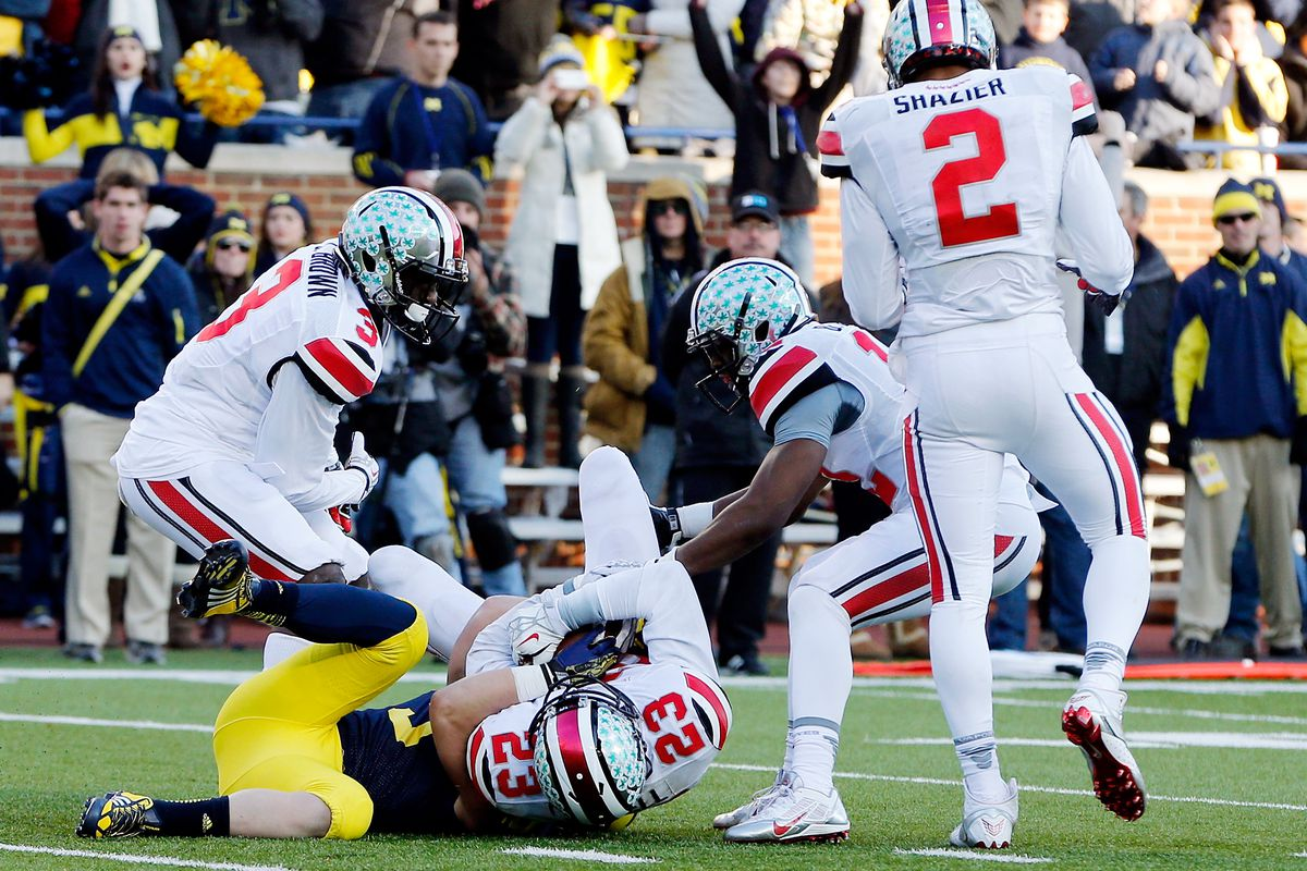 Tyvis Powell's interception on Michigan's two-point conversion sealed Ohio State's second consecutive perfect regular season.