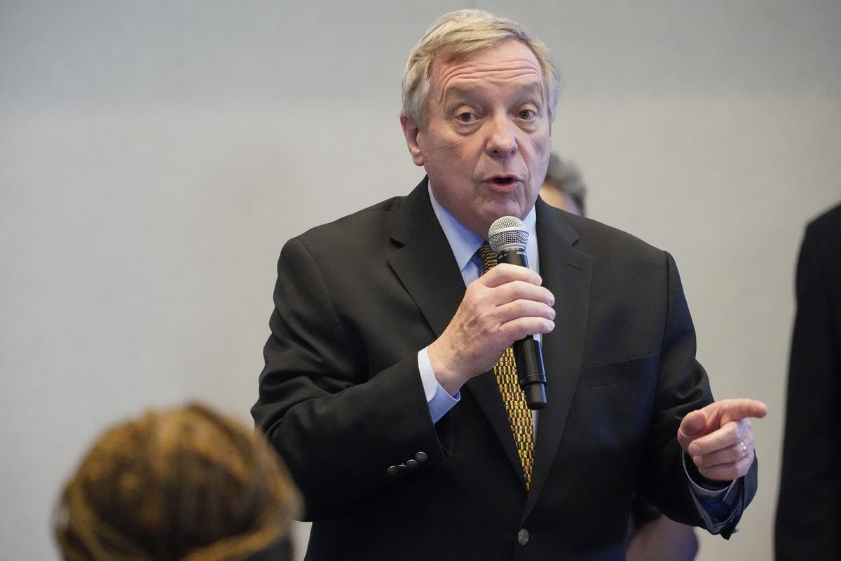 Sen. Dick Durbin during a visit with Vice President Kamala Harris to Chicago earlier this month.