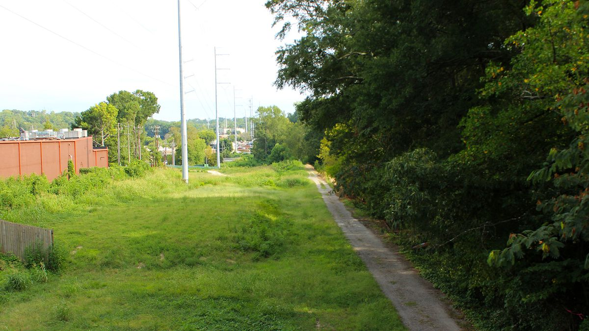 A gravel path at the right of the frame runs below tall evergreen trees and next to a wide plain of grass with power lines hanging overhead.