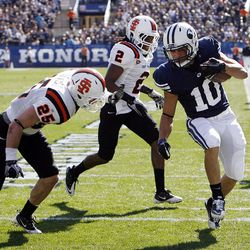 Brigham Young Cougars running back JJ Di Luigi runs into the endzone for a touchdown as Brigham Young University faces Idaho State in NCAA football in Provo, Saturday, Oct. 22, 2011.