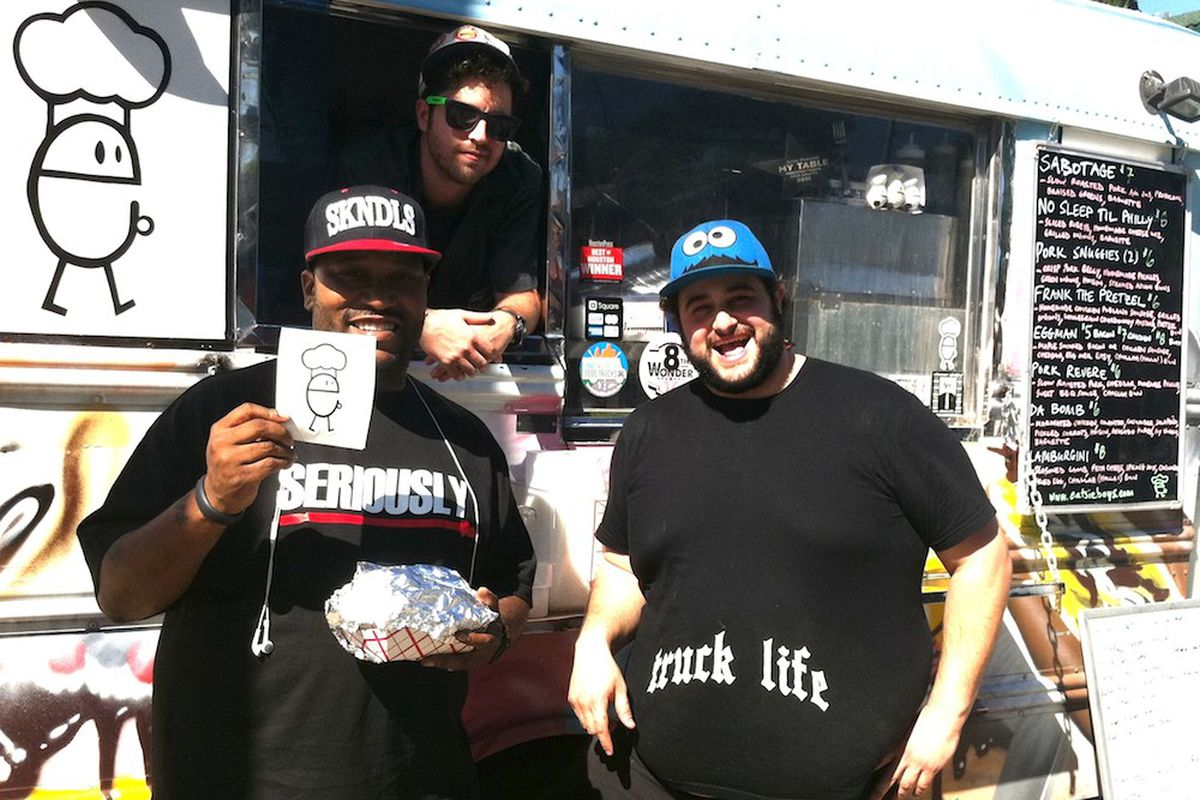 Rapper Bun B (left) with Ryan Soroka (middle) and Matt Marcus (right) of Houston's Eatsie Boys.