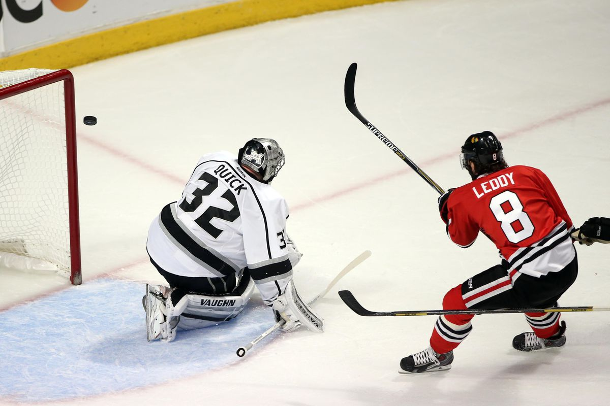 Nick Leddy scores a goal. Believe it or not, Minnesota's defensemen can, too.