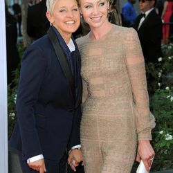 Actresses Ellen DeGeneres, left and Portia de Rossi arrives at the 64th Primetime Emmy Awards at the Nokia Theatre on Sunday, Sept. 23, 2012, in Los Angeles.