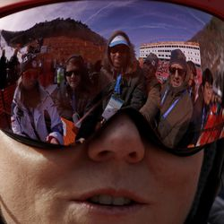 Mikaela Shiffrin, of the United States, talks to the media after her first run of the women's slalom at the 2018 Winter Olympics in Pyeongchang, South Korea, Friday, Feb. 16, 2018.