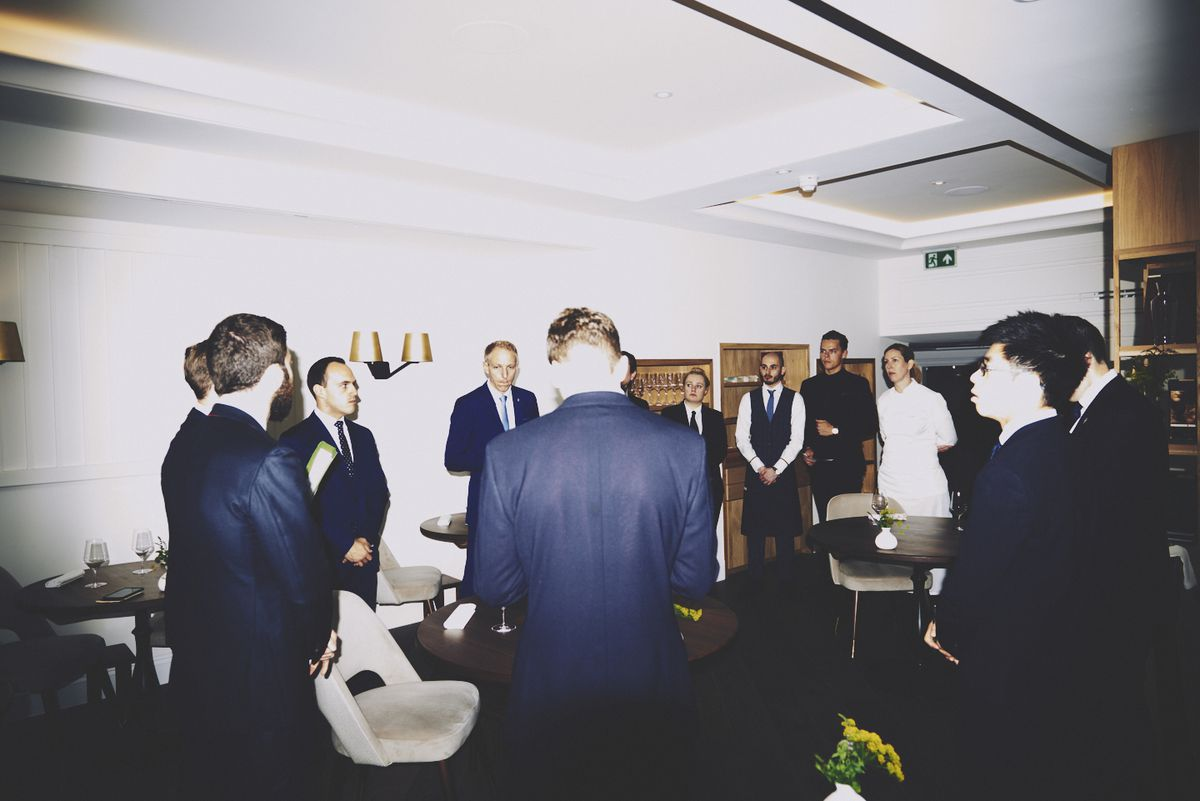 The pre-service briefing at two Michelin star restaurant Core by Clare Smyth in Notting Hill, London