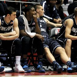 The BYU bench watches as the time runs out during a game against Utah at the Jon M. Huntsman Center on Saturday, Dec. 14, 2013.