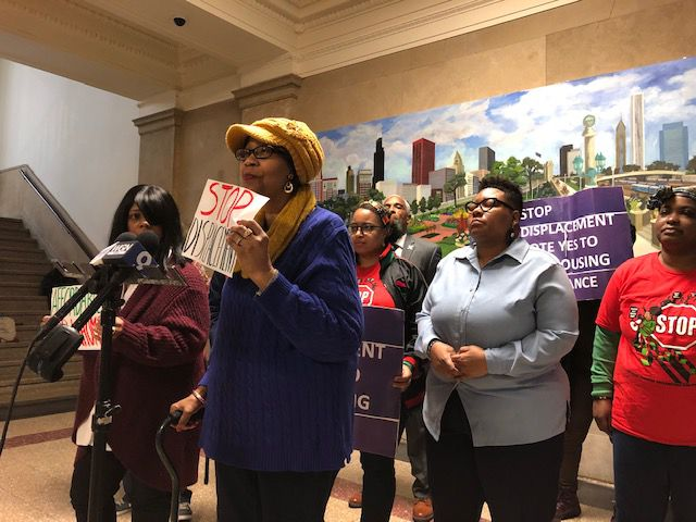 Woodlawn residents fearful of being displaced by the Obama Presidential Center in Jackson Park join their Ald. Jeanette Taylor (20th) at a City Hall news conference on Wednesday, Feb. 5, 2020.