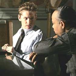 """Cody Kasch, left, guest stars as a young white supremacist who's questioned by Detective Odafin """"Fin"""" Tutuola (Ice-T) in connection with a murder on """"Law \& Order: Special Victims Unit"""" tonight at 9 on Ch. 5."""