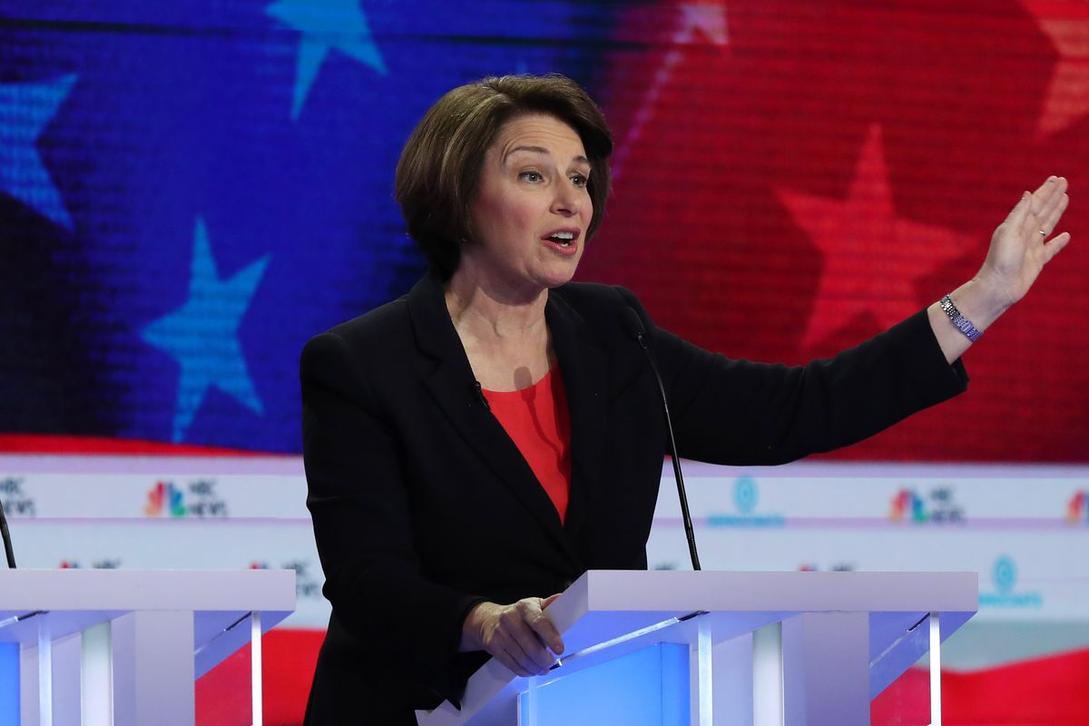 Sen. Amy Klobuchar (D-MN) speaks during the first night of the Democratic presidential debate on June 26, 2019 in Miami, Florida.