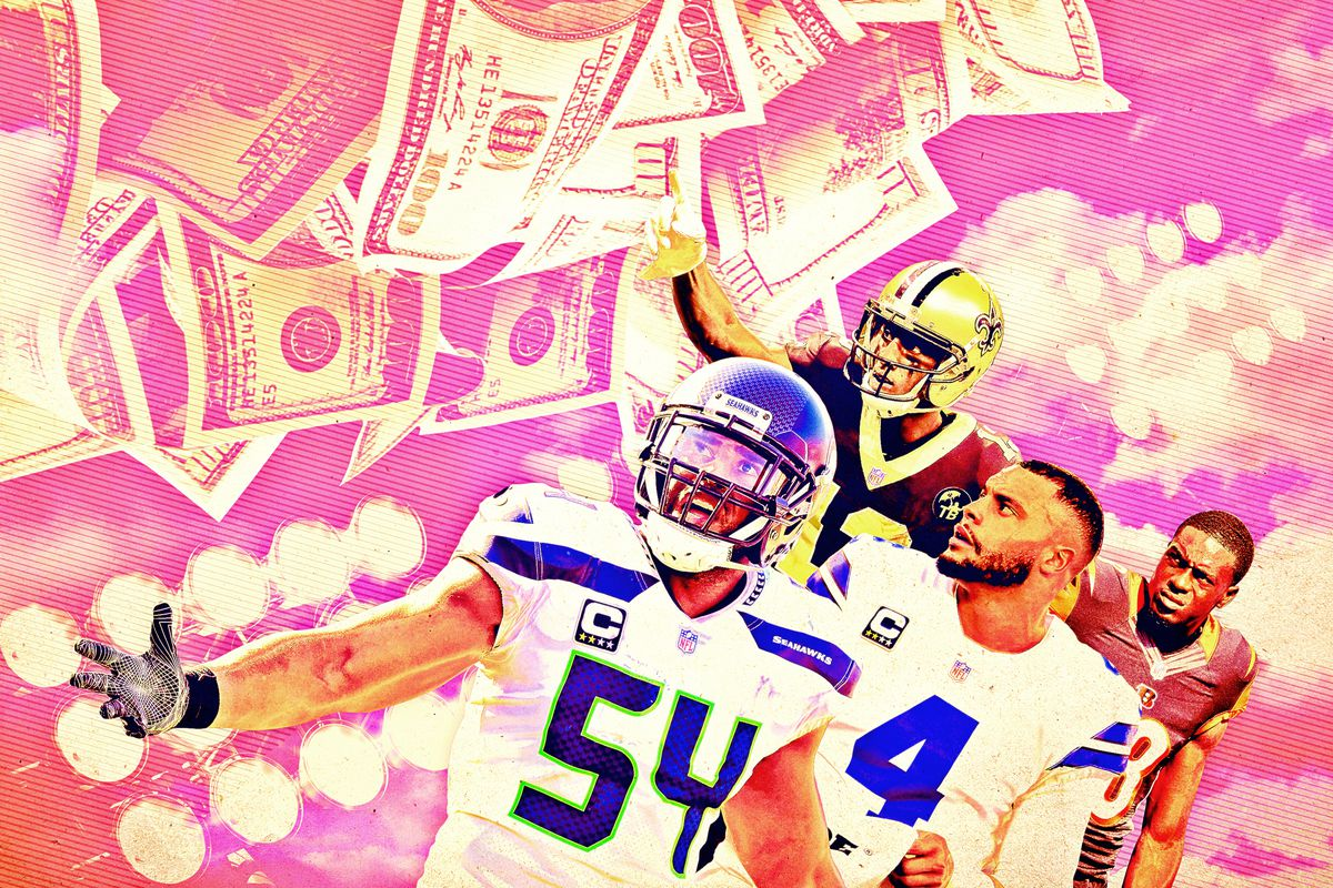 A photo illustration featuring money and images of Bobby Wagner, Dak Prescott, and A.J. Green