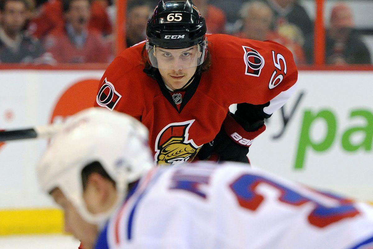 "April 16, 2012; Ottawa, ON, Canada; Erik Karlsson ""negotiates"" his next contract extension.  Mandatory Credit: Eric Bolte-US PRESSWIRE"