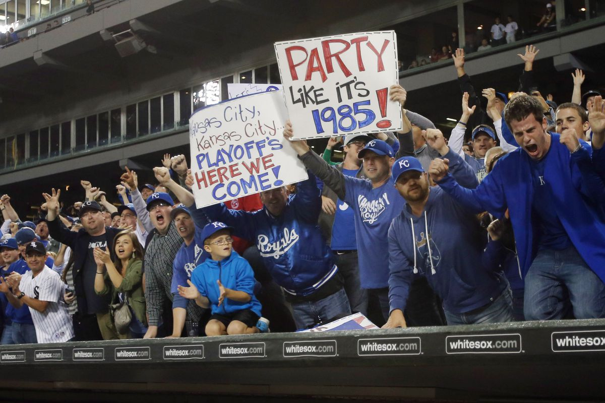 Chicago, IL--Royals faithful celebrate with the team