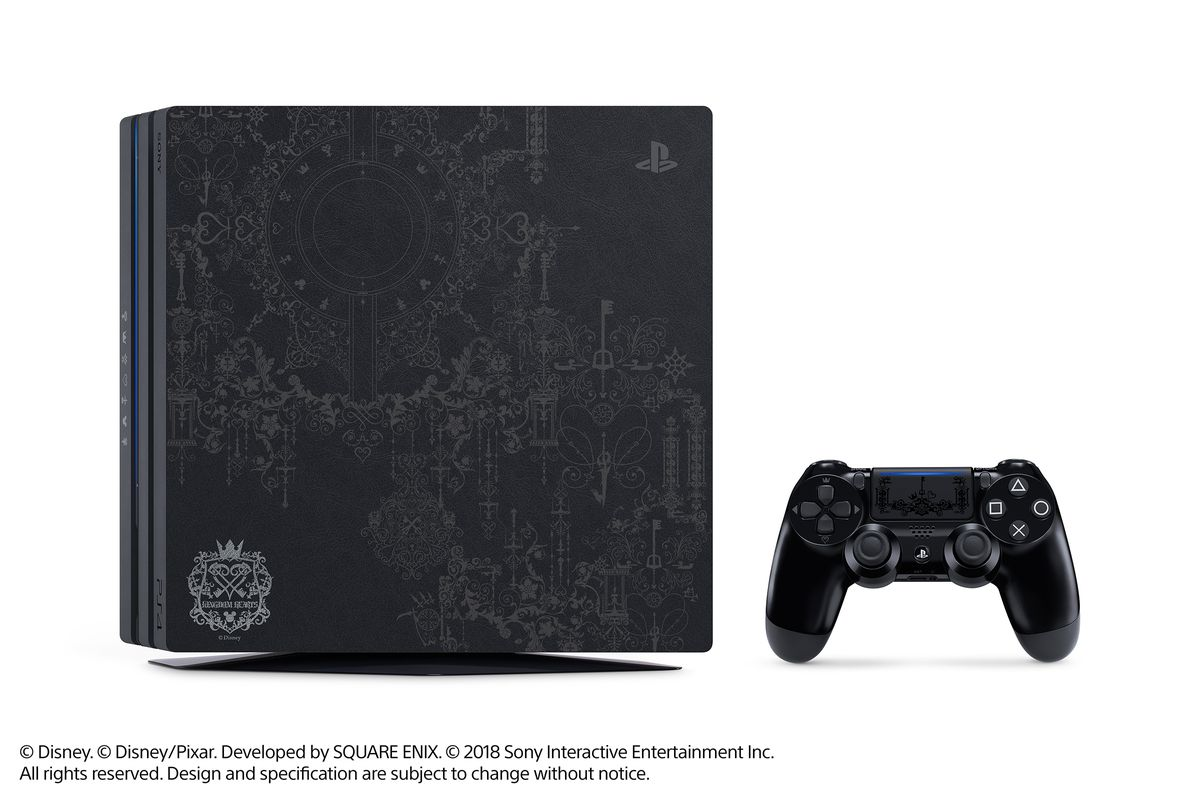 A photo of the Kingdom Hearts 3 limited edition PlayStation 4 Pro and DualShock 4.