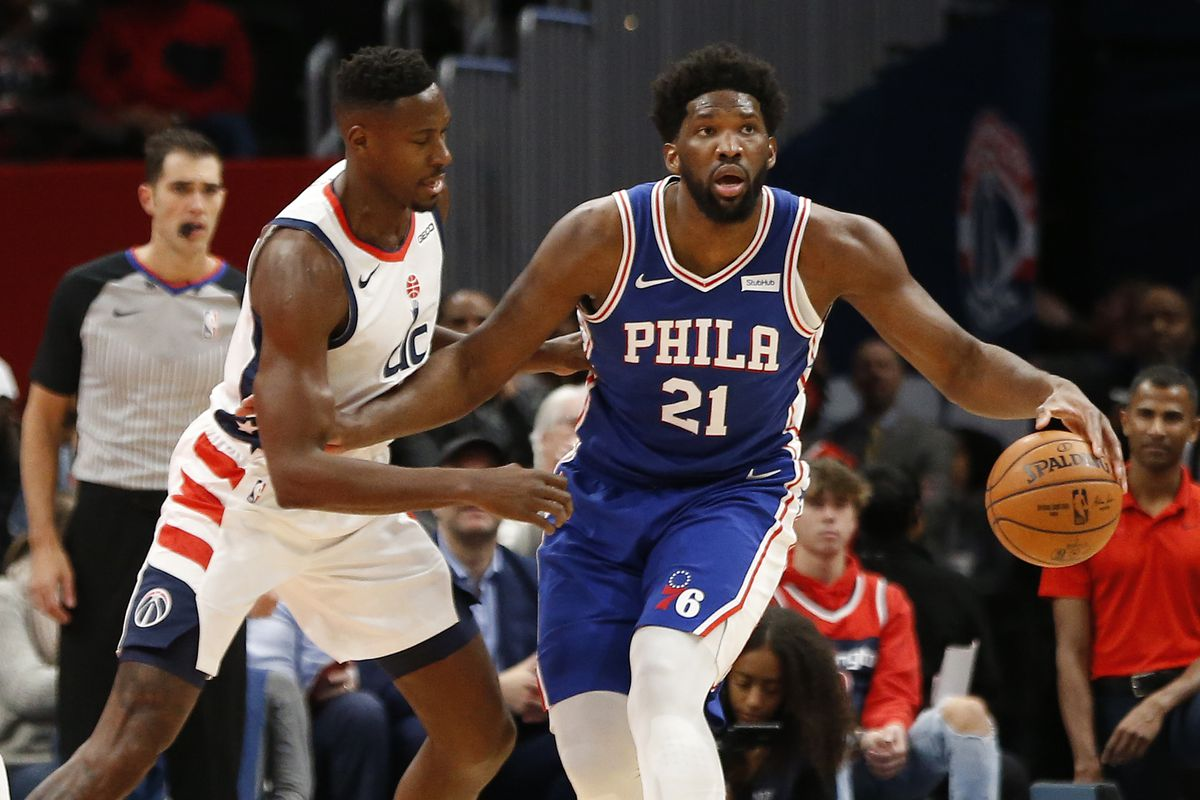 Philadelphia 76ers center Joel Embiid dribbles the ball as Washington Wizards center Ian Mahinmi defends in the first quarter at Capital One Arena.