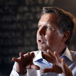 Republican Ohio Gov. John Kasich speaks to an audience at a restaurant Wednesday, May 6, 2015, in Nashua, N.H. Kasich, a two-term Ohio governor and former member of the U.S. House, is one of the lesser-known Republicans considering a White House bid.