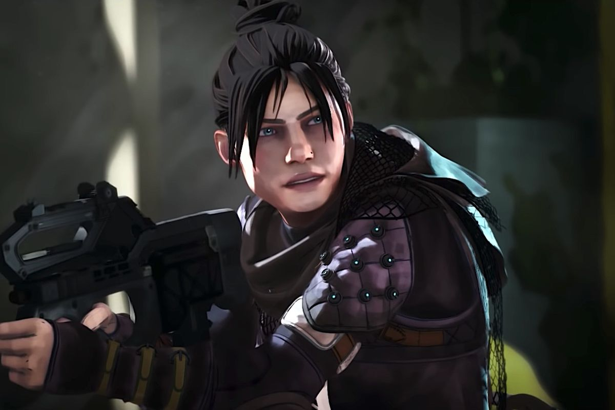 A still image of Wraith from Apex Legends' CG reveal trailer