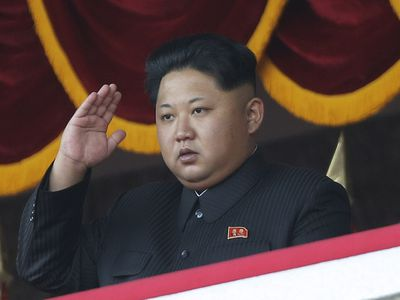 North Korean leader Kim Jong Un salutes at a parade in Pyongyang, North Korea, on October 10, 2015.