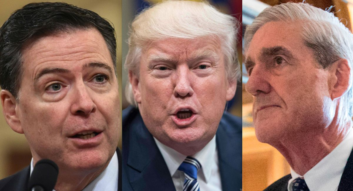 In seeking clemency from President Donald Trump, attorneys for imprisoned former Illinois Gov. Rod Blagojevich are taking aim at two of Trump's favorite foils: the former FBI director Trump fired, James Comey (left) and the special counsel investigating R