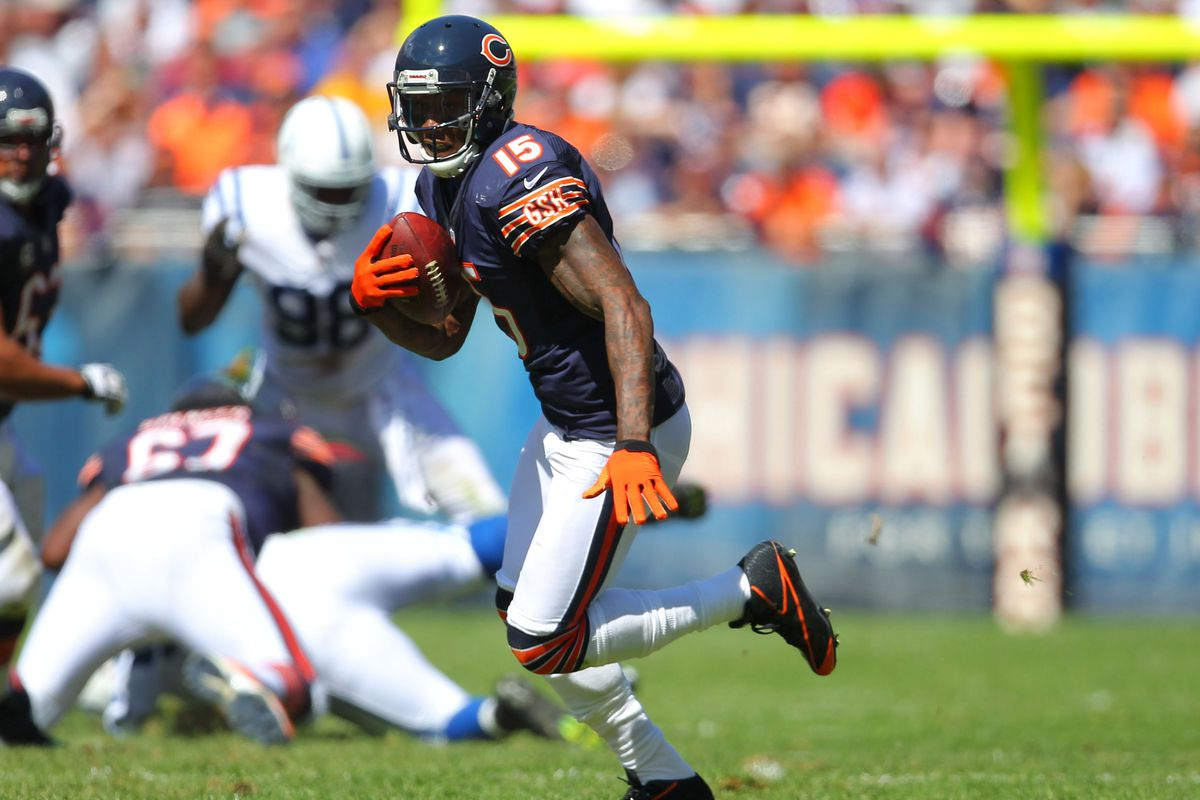 Sep 9, 2012; Chicago, IL, USA; Chicago Bears wide receiver Brandon Marshall (15) runs with the ball during the second quarter against the Indianapolis Colts at Soldier Field. Mandatory Credit: Dennis Wierzbicki-US PRESSWIRE