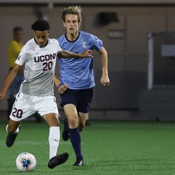 The Columbia Lions take on the UConn Huskies in a men's college soccer game at Dillon Stadium in Hartford, CT on September 20, 2019.