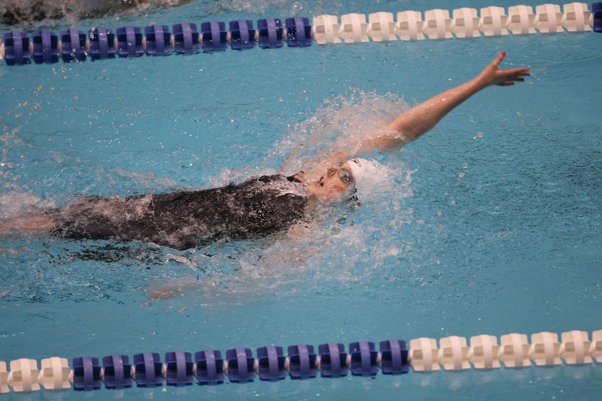 Missy Franklin swims and wins the women's 200 meter backstroke championship final at the Indianapolis Grand Prix at the Indiana University Natatorium.  Mandatory Credit: Brian Spurlock-US PRESSWIRE