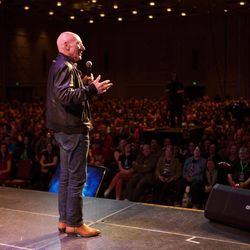 Sir Patrick Stewart, a surprise addition to the FanX celebrity lineup, addresses a crowd at Salt Lake Comic Con FanXperience.