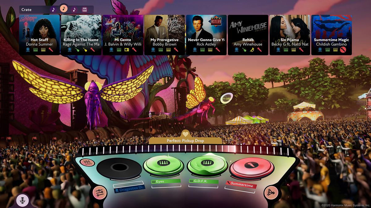 The Fuser mix screen, which shows records on a table and song choices above a crowd.