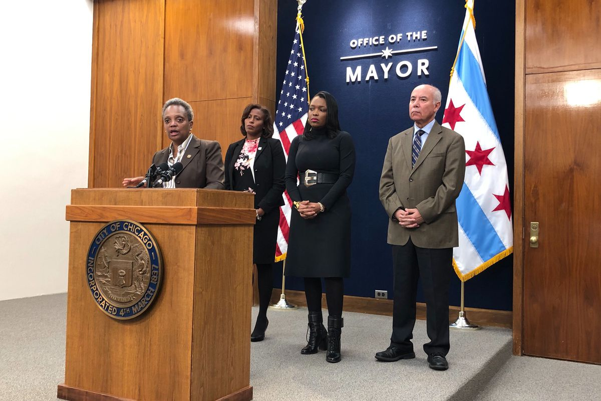 Chicago Mayor Lori Lightfoot, addressing reporters Oct. 16, 2019,  said she's tried to avert a threatened strike by teachers.