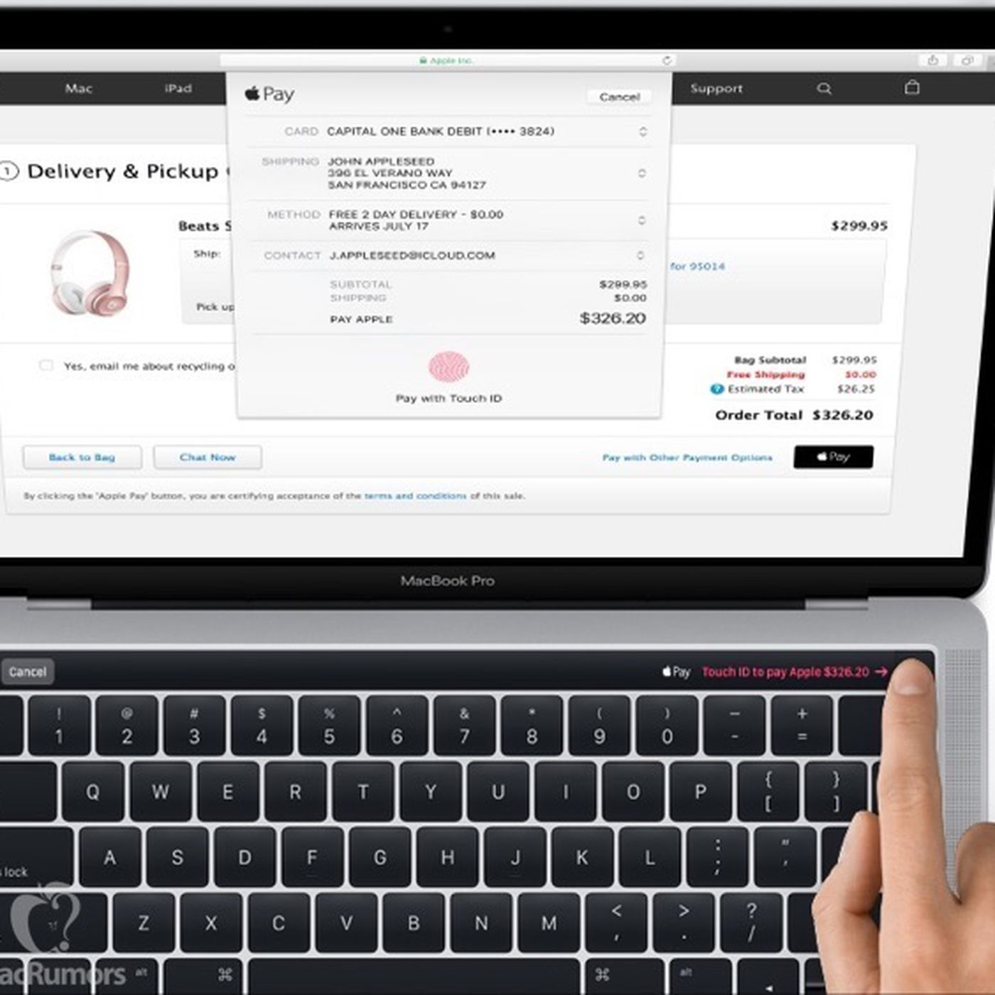This leaked MacBook Pro image shows Apple Pay in action on a
