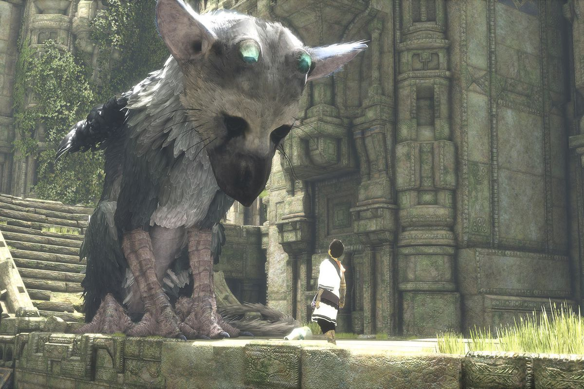 Trico looks at the boy in a screenshot from The Last Guardian