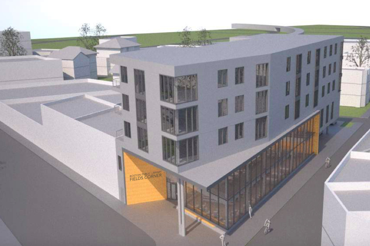 A rendering of a narrow five-story building.