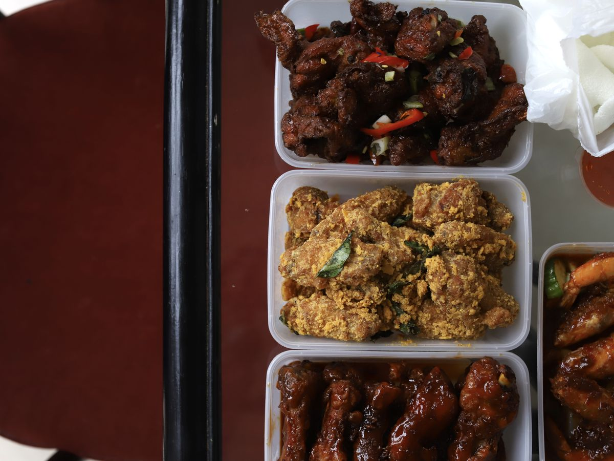 Malaysian fried chicken, centre, at Chu Chin Chow, one of London's Best Chinese restaurants for takeaway