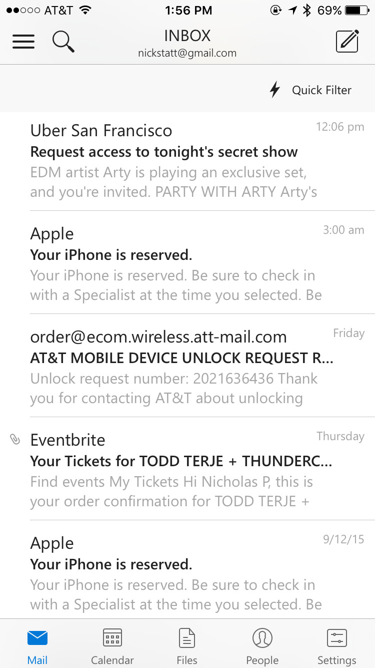 outlook iphone