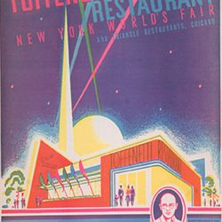 """Toffenetti World's Fair menu cover via <a href=""""http://exhibitions.nypl.org/treasures/items/show/145"""">New York Public Library digital archives</a>."""
