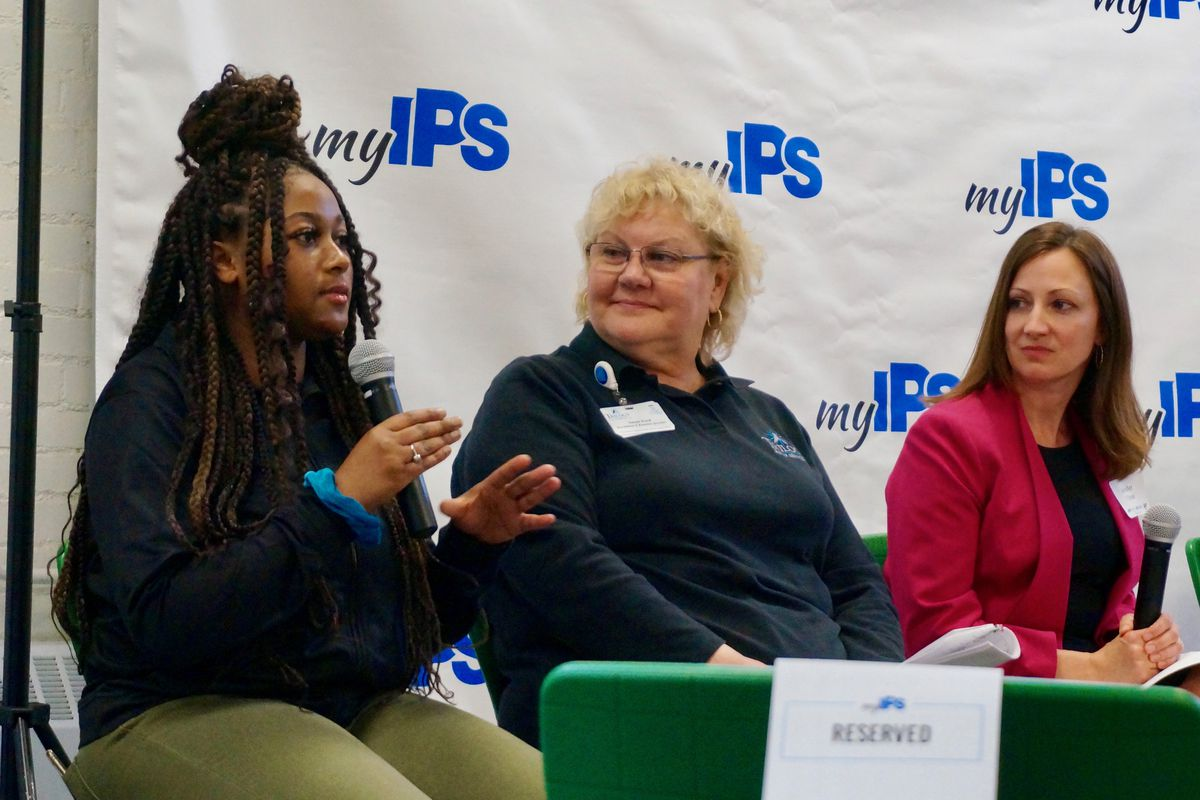 Faith Harrington, left, is a junior at Crispus Attucks High School. She said her experience in the certified nursing assistant program helped her realize that she was not want to pursue that field.