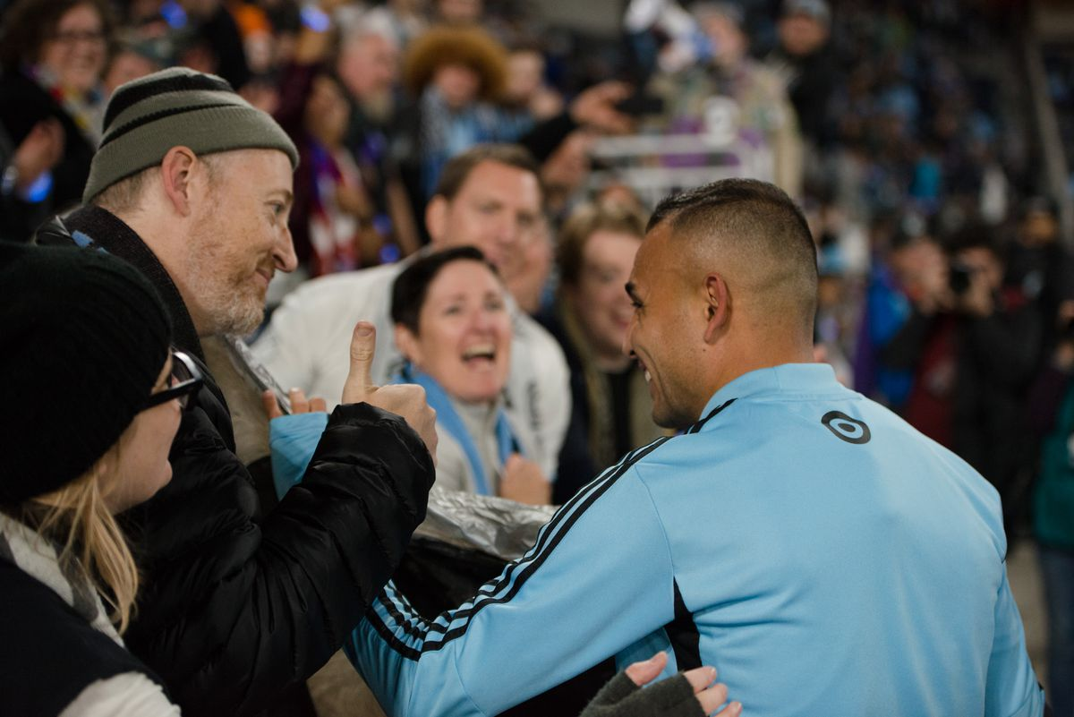 October 20, 2019 - Saint Paul, Minnesota, United States- Miguel Ibarra is given a balloon flag by fans after an Audi MLS Cup Playoff match between Minnesota United and The Los Angeles Galaxy at Allianz Field (Photo: Tim C McLaughlin)
