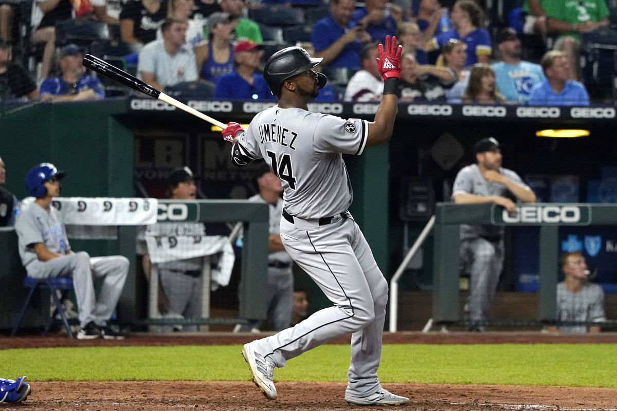The White Sox' Eloy Jimenez hits a three-run home run in the eighth inning against the Kansas City Royals Tuesday night.