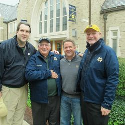 Billy Casper, center, with Bill Brennan, Mike Benson and Jim Parkinson, the three men who helped arrange for the legendary golfer?s return to Notre Dame.